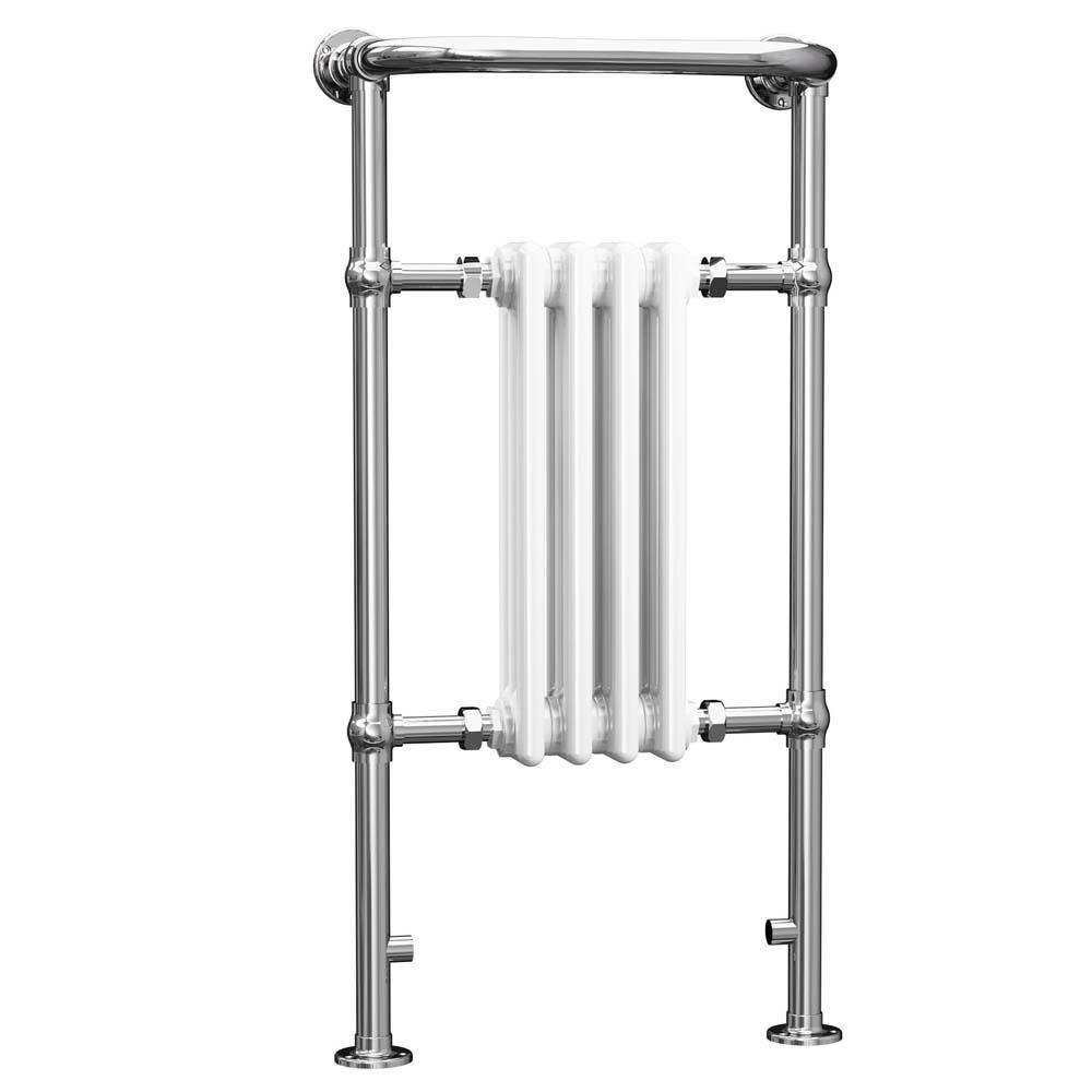 Cali Traditional Heated Radiator Towel Rail - 965mm High x 495mm Wide - Chrome/White