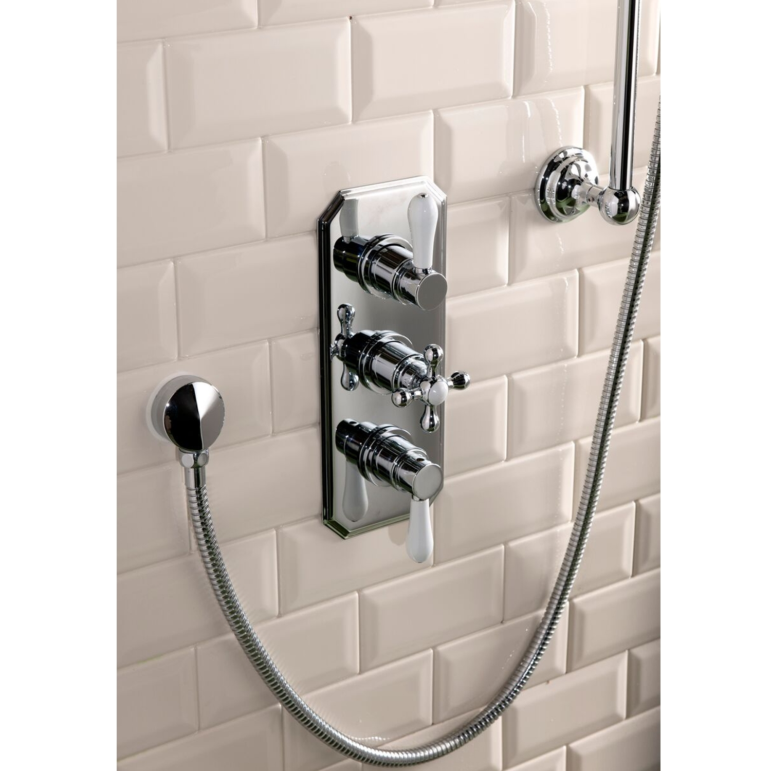 Cali Tudor Traditional Concealed Shower Valve - Triple Handle - Chrome