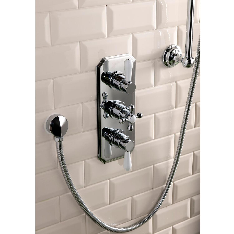Cali Tudor Traditional Concealed Shower Valve - Triple Handle - Chrome-0