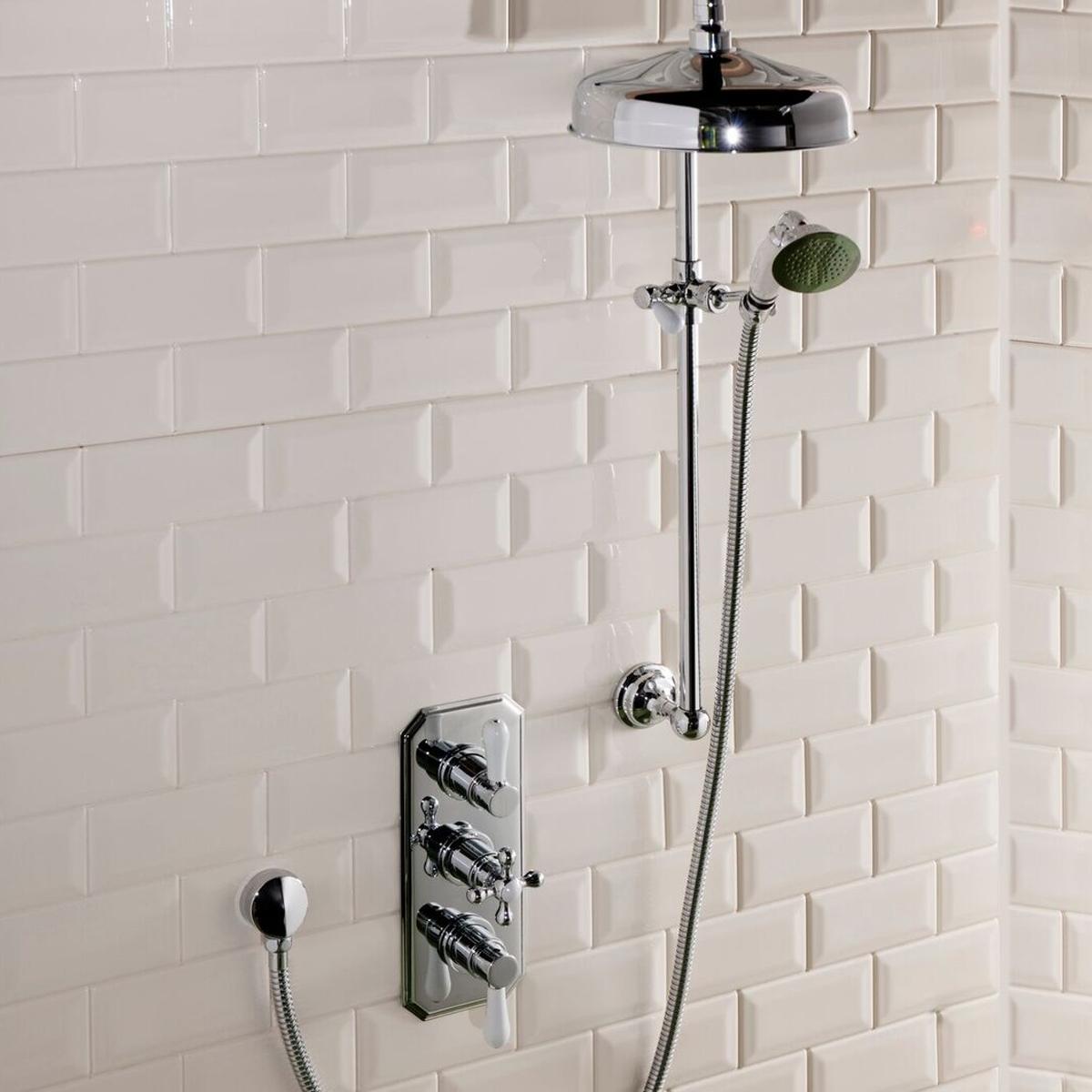 Cali Tudor Traditional Concealed Shower Valve - Triple Handle - Chrome-3