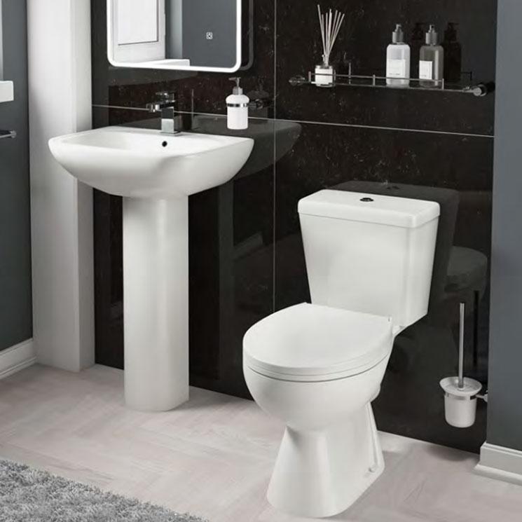 Cali Unison Close Coupled Toilet - Push Button Cistern - Soft Close Seat-1