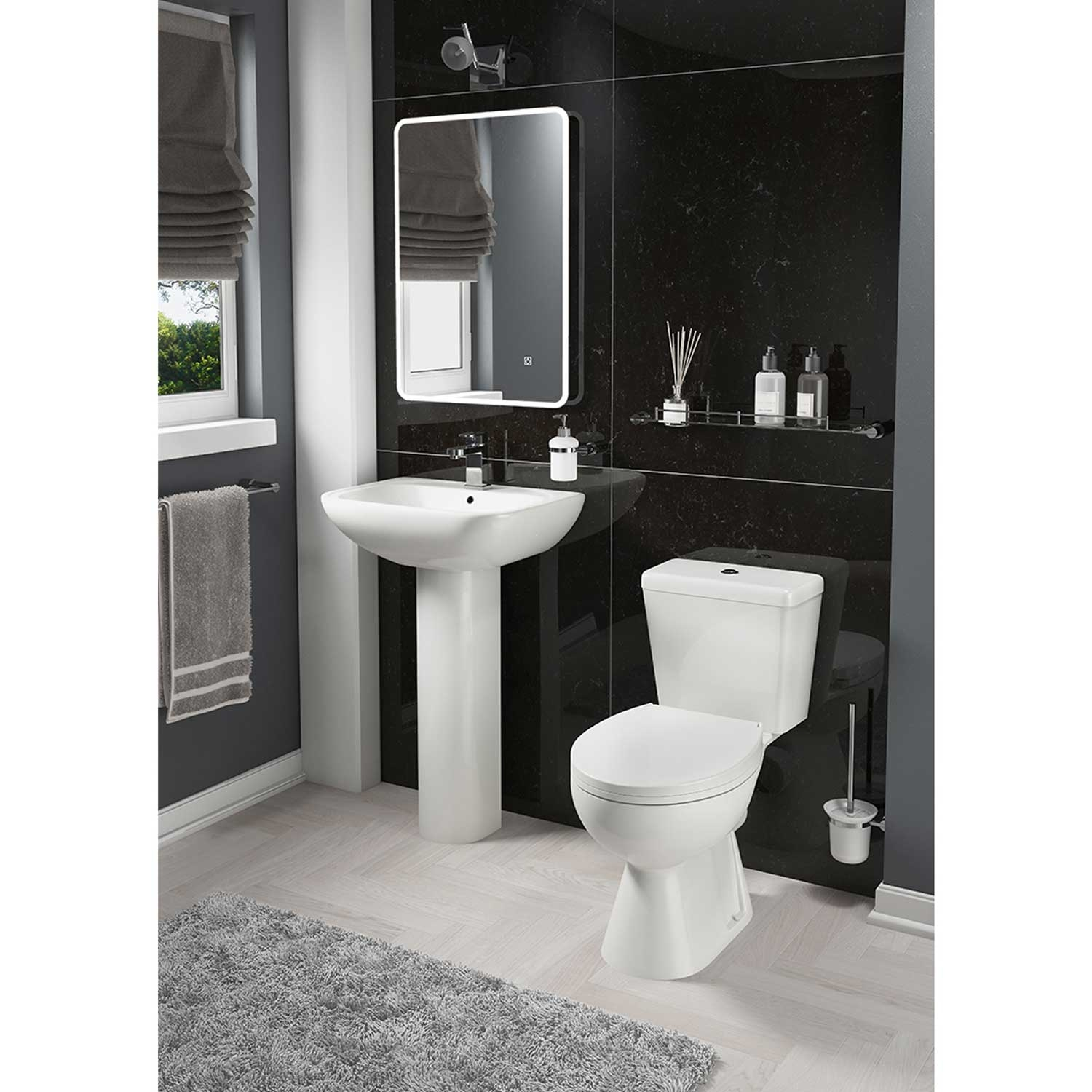 Cali Unison Close Coupled Toilet - Push Button Cistern - Soft Close Seat