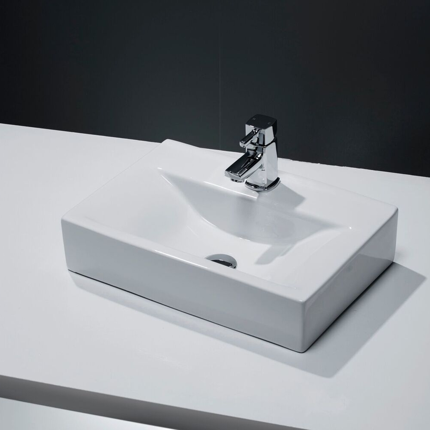 Cali Vessel Rectangular Counter Top Basin - 450mm Wide - 1 Tap Hole