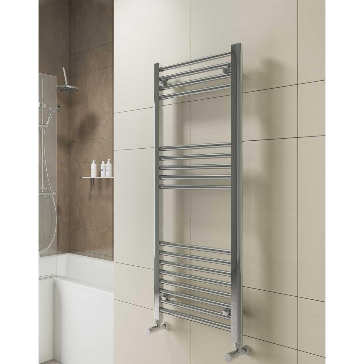 Cali York Flat Heated Towel Rail 1600mm H x 500mm W Chrome