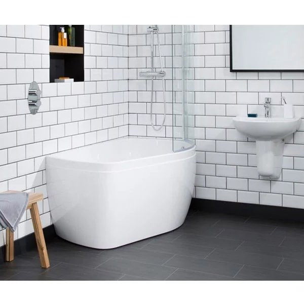 Carron Profile 1500mm x 900mm Shower Bath RH 5mm Acrylic - White