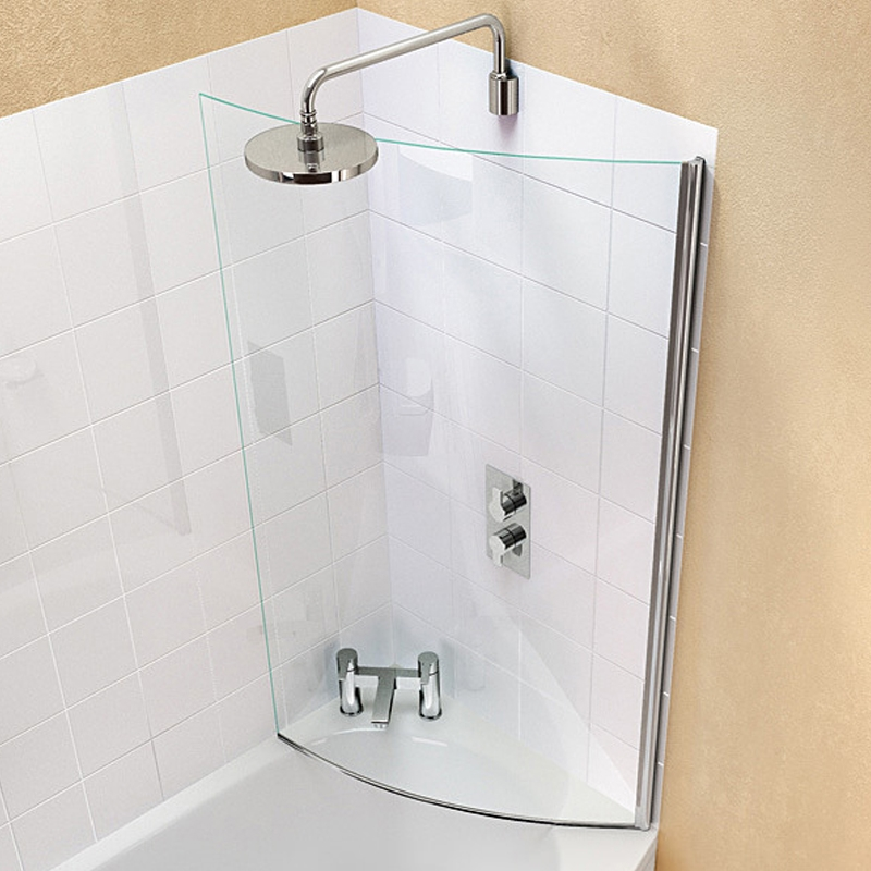 Cleargreen Ecoround Shower Bath Bathscreen 1450mm x 820mm - 6mm Glass