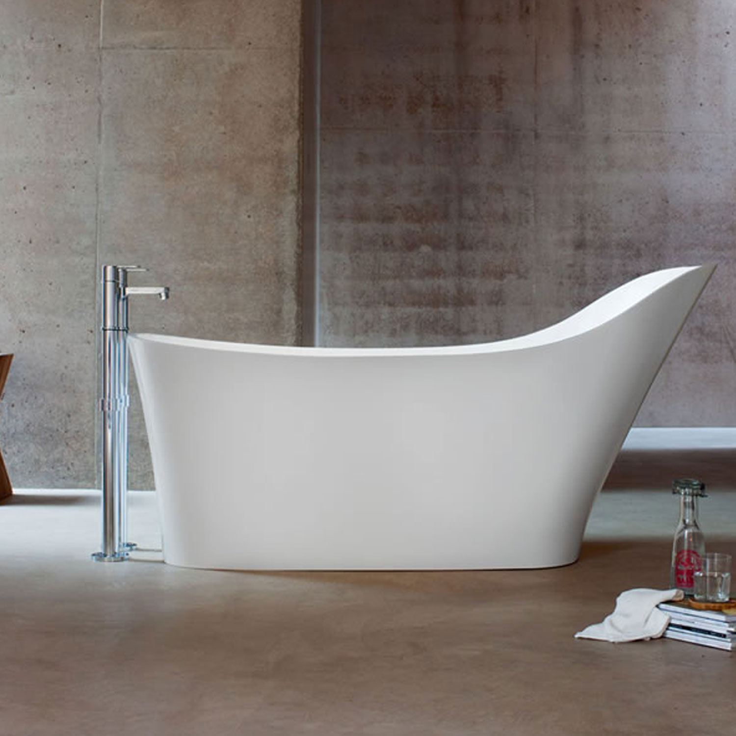 Clearwater Nebbia Freestanding Slipper Bath 1600mm x 800mm - Natural Stone-0