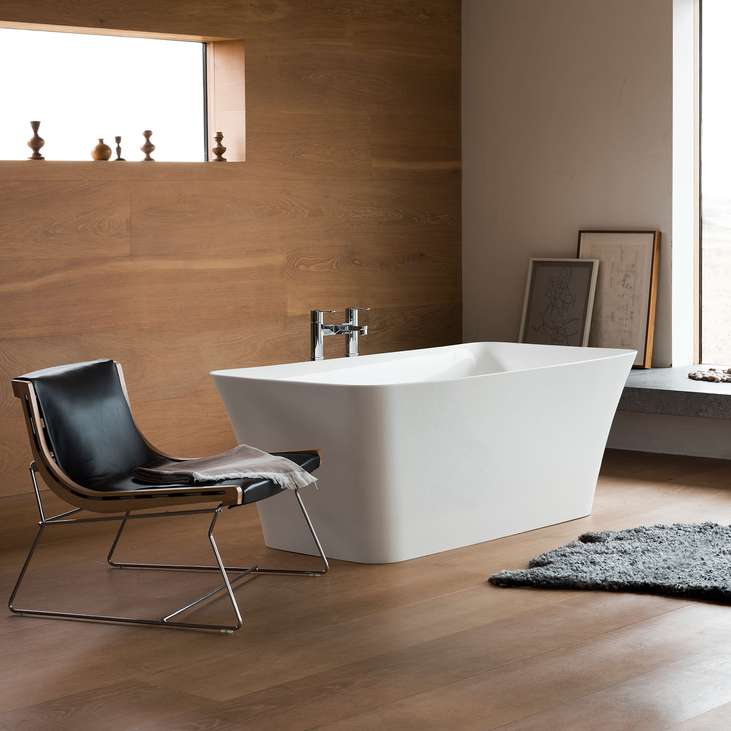 Clearwater Palermo Petite Freestanding Bath 1524mm x 750mm - Clear Stone-0