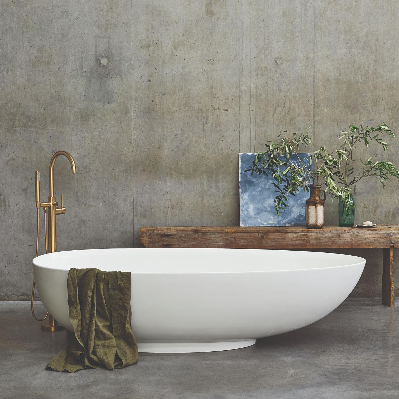 Clearwater Teardrop Grande Freestanding Bath 1910mm x 820mm - Clear Stone-0