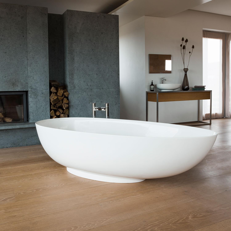 Clearwater Teardrop Petite Freestanding Bath 1690mm x 820mm - Clear Stone-0
