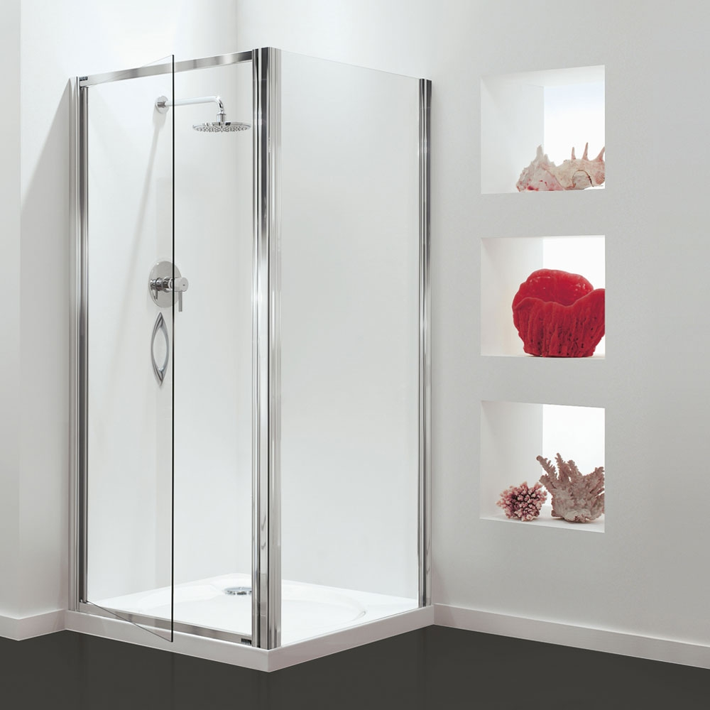 Coram Premier Pivot Shower Door 800mm Wide - 6mm Plain Glass