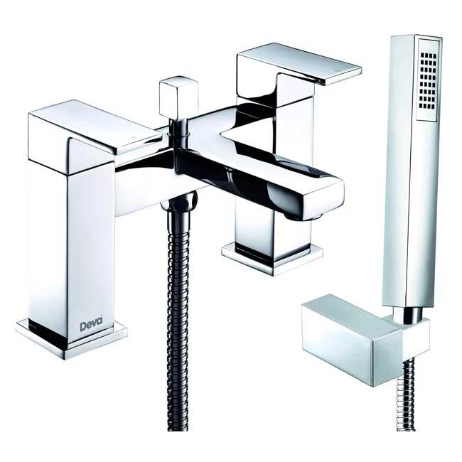 Deva Savvi MK2 Deck Mounted Bath Shower Mixer Tap with Shower Kit and Wall Bracket - Chrome