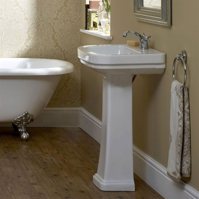 Duchy Iris Basin & Full Pedestal 550mm Wide 1 Tap Hole