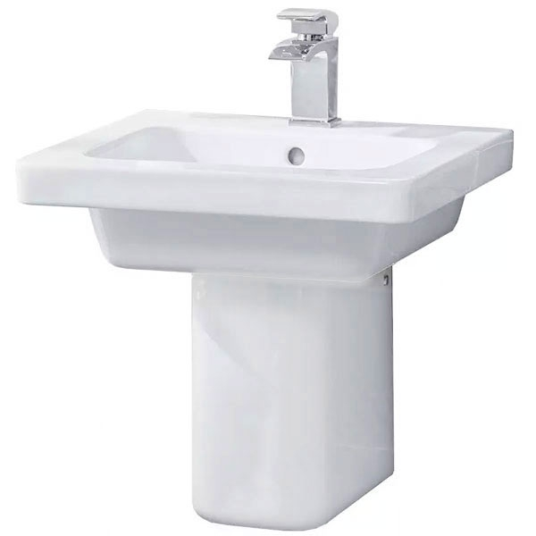 Duchy Ivy Basin with Semi-Pedestal, 500mm Wide, 1 Tap Hole