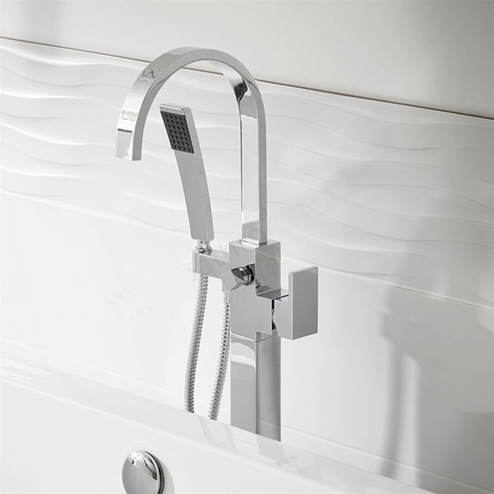 Duchy Storm Bath Shower Mixer Tap, Free Standing, Chrome-0