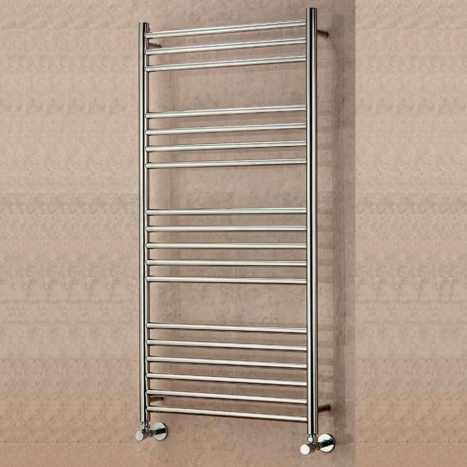 EcoRad Edge Straight Ladder Towel Rail, 1200mm H x 500mm W, Polished Stainless Steel