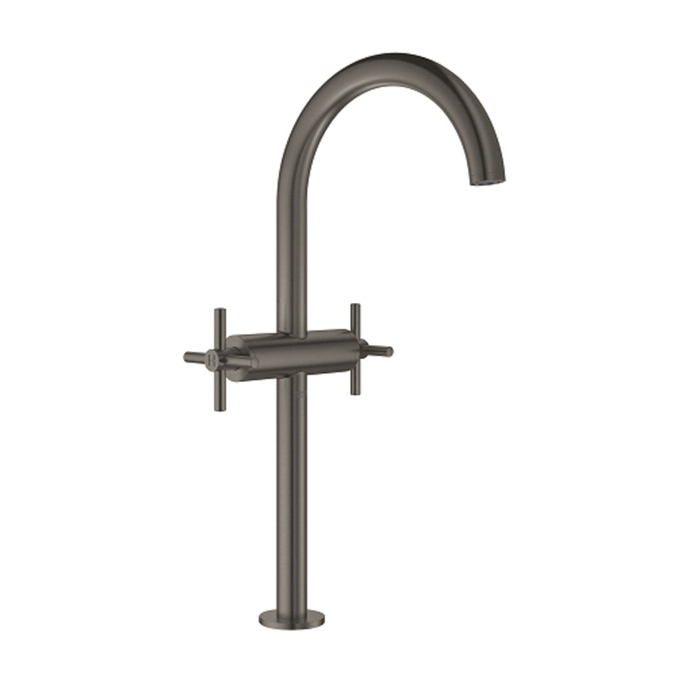 Grohe Atrio XL-Size Basin Mixer Tap and Push-Open Waste with Cross Handles - Brushed Hard Graphite