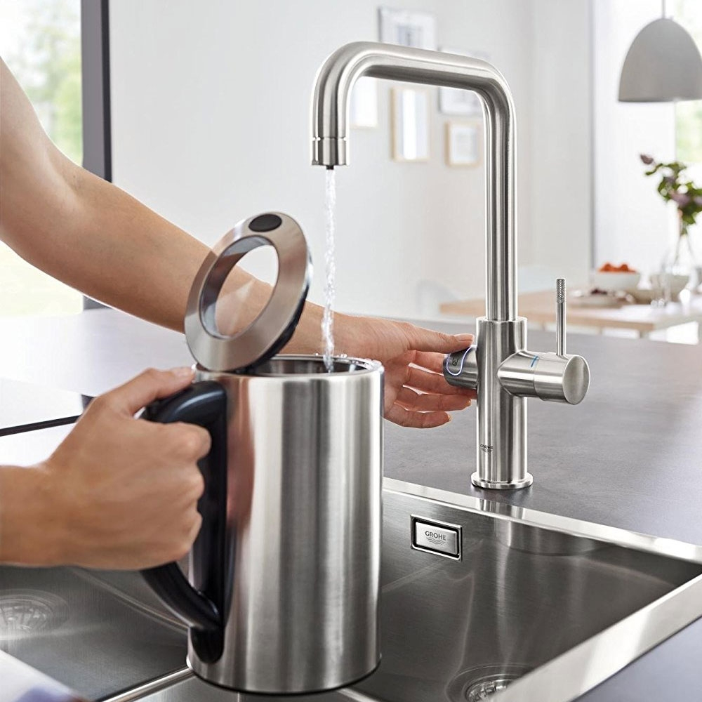GROHE Blue Home U-Spout Kitchen Sink Mixer Tap with Filter Kit - Supersteel