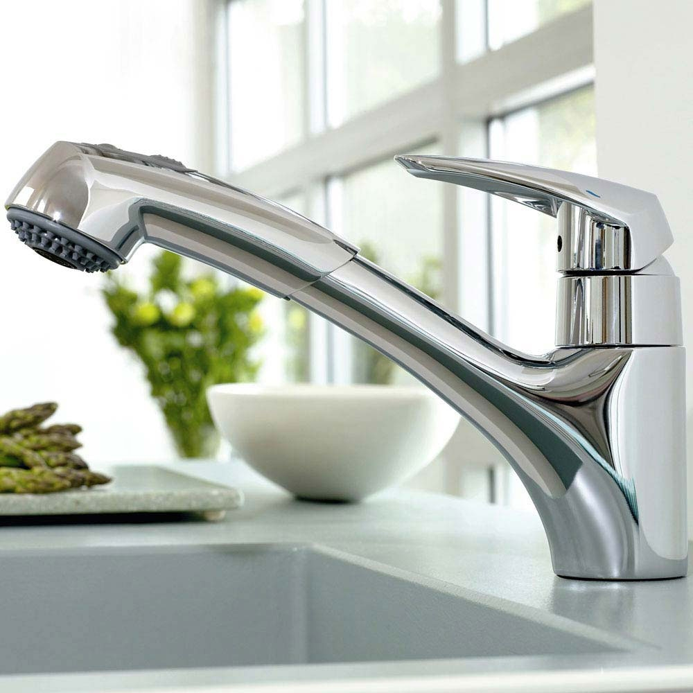 Grohe Eurodisc 1/2 Inch Pull Out Single Lever Kitchen Sink Mixer Tap - Chrome