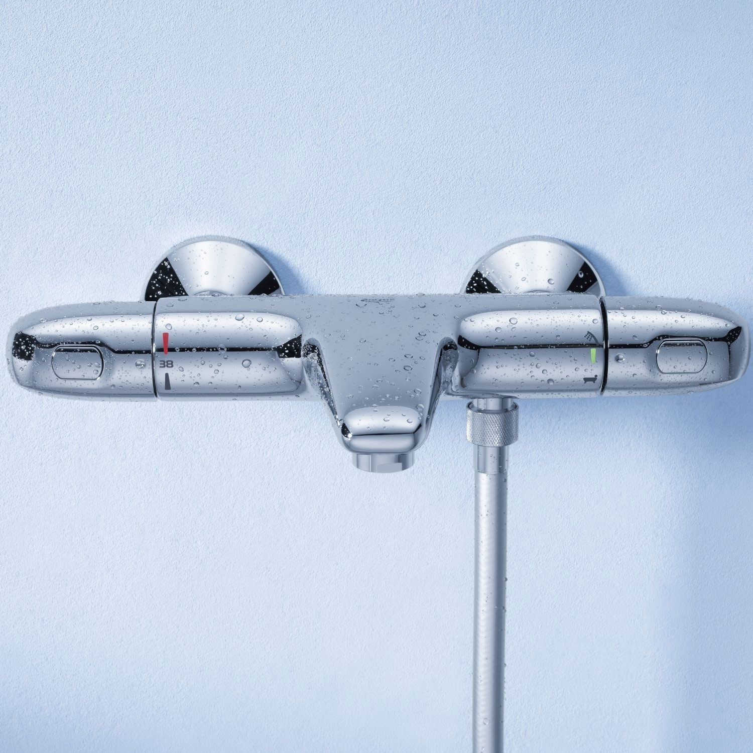 Grohe Grohtherm 1000 Thermostatic Bath Shower Mixer Tap Wall Mounted - Chrome