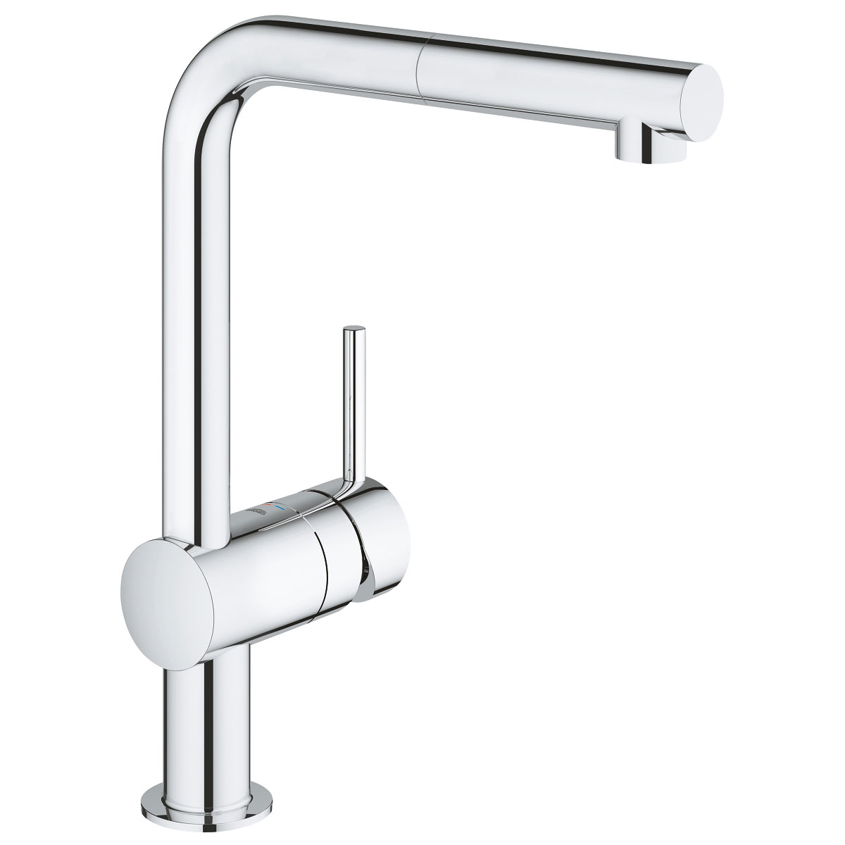 Grohe Minta Mono Kitchen Sink Mixer Tap, Pull-Out L-Spout, Single Handle, Chrome