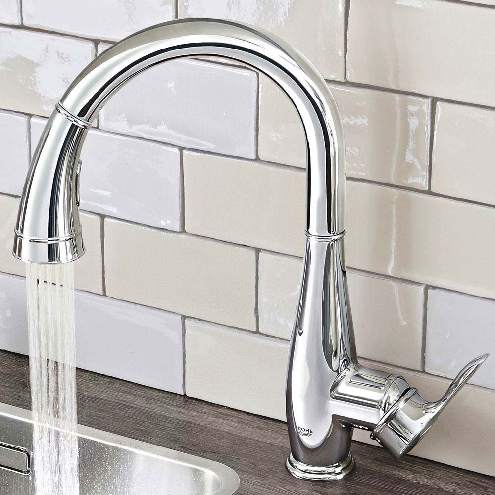 Grohe Parkfield Single-Lever Pull Out Spray Kitchen Mixer Tap, Chrome