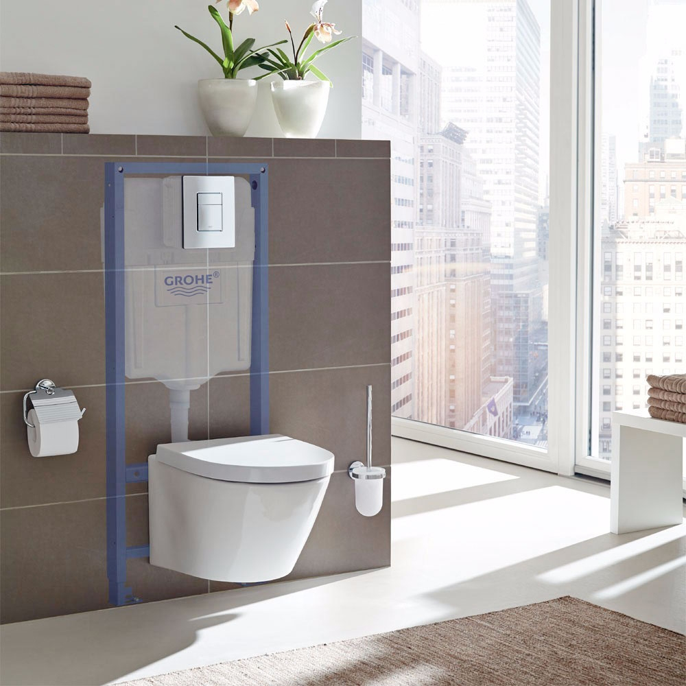 Grohe Rapid SL 3-in-1 WC Toilet Frame, Cosmo Flushplate, Cistern and Fixings, 1130mm High