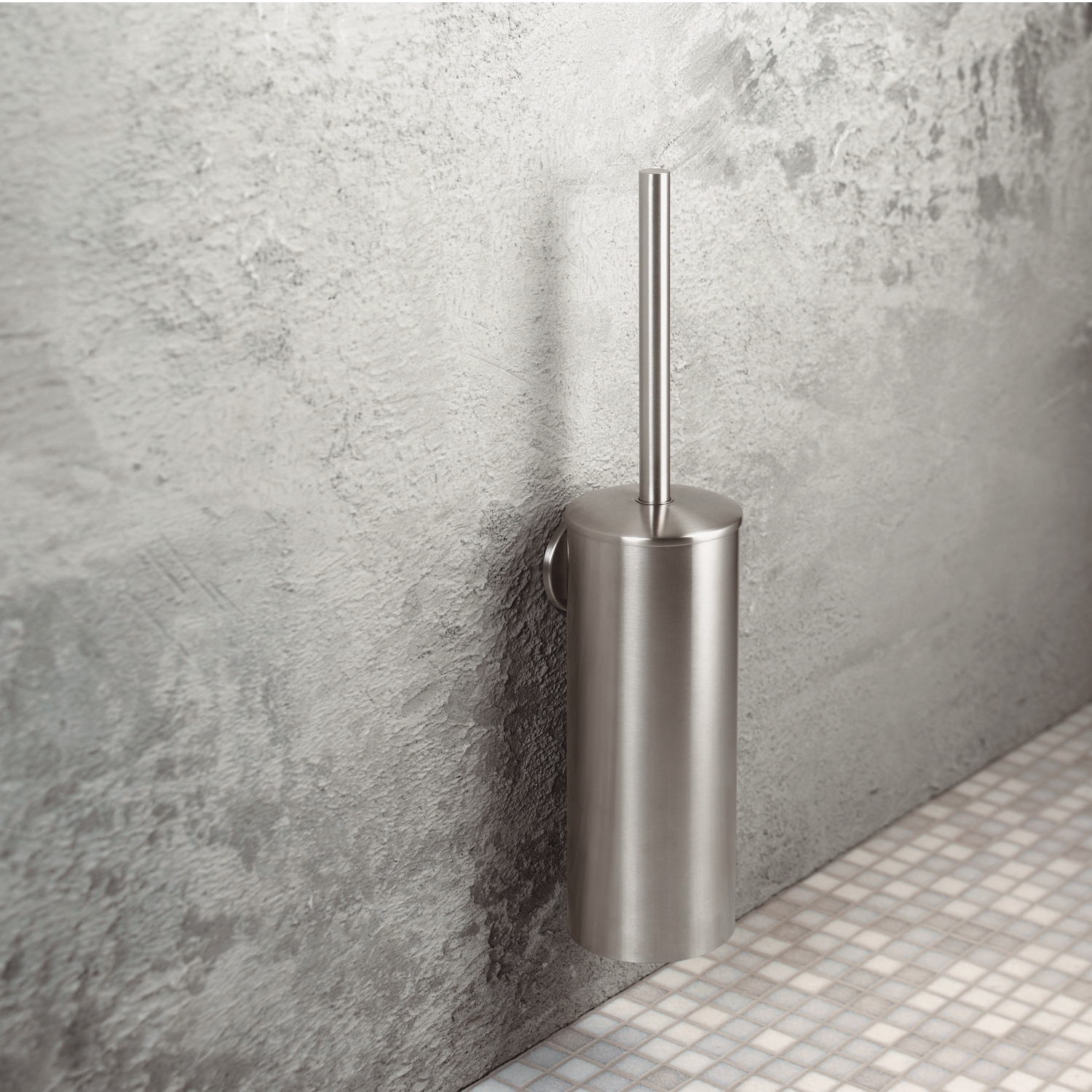 Haceka Silence Modern Stainless Finish Toilet Brush and Holder