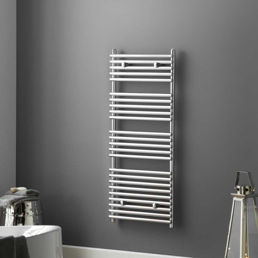 Heatwave Iridio Designer Heated Towel Rail 800mm H x 500mm W - White