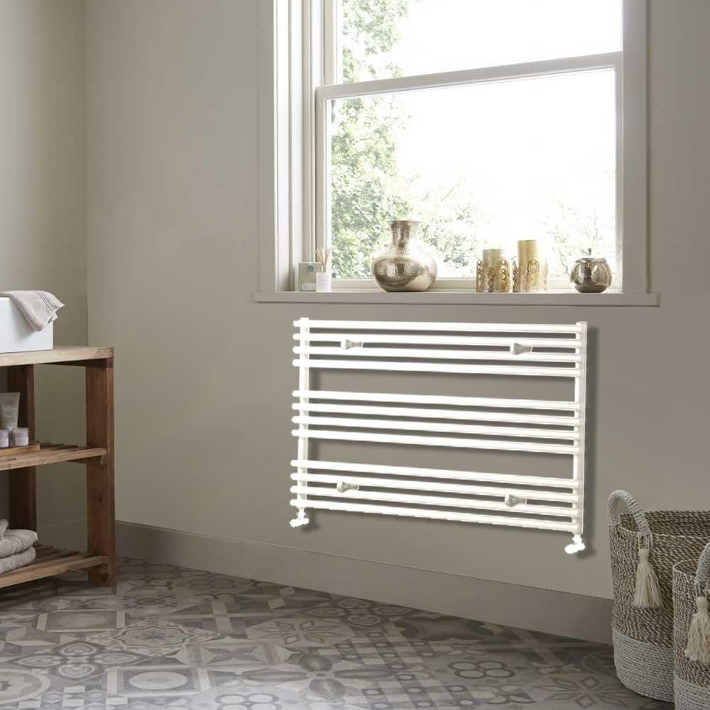 Heatwave Iridio Horizontal Heated Towel Rail 600mm H x 1000mm W - White