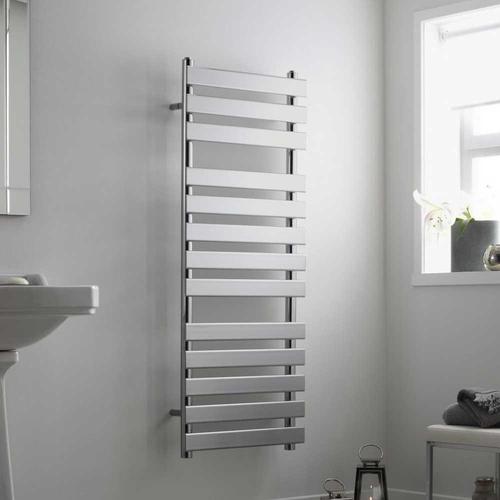 Heatwave Perlo Flat Panel Heated Towel Rail 800mm H x 500mm W - Chrome