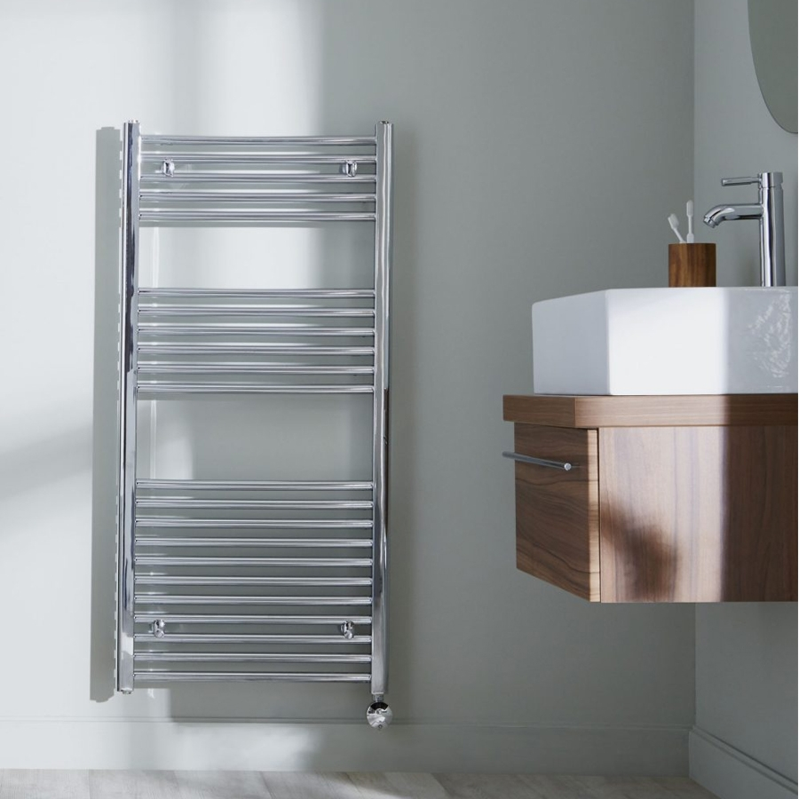 Heatwave Richmond Thermostatic Electric Straight Towel Rail 1186mm H x 600mm W - Chrome