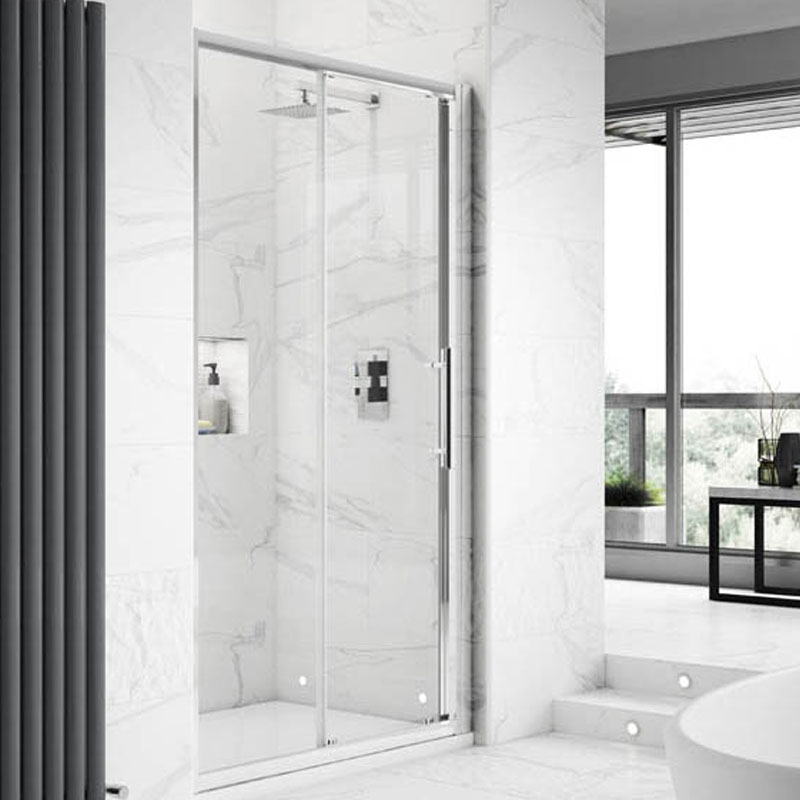 Hudson Reed Apex Sliding Shower Door 1400mm Wide - 8mm Glass