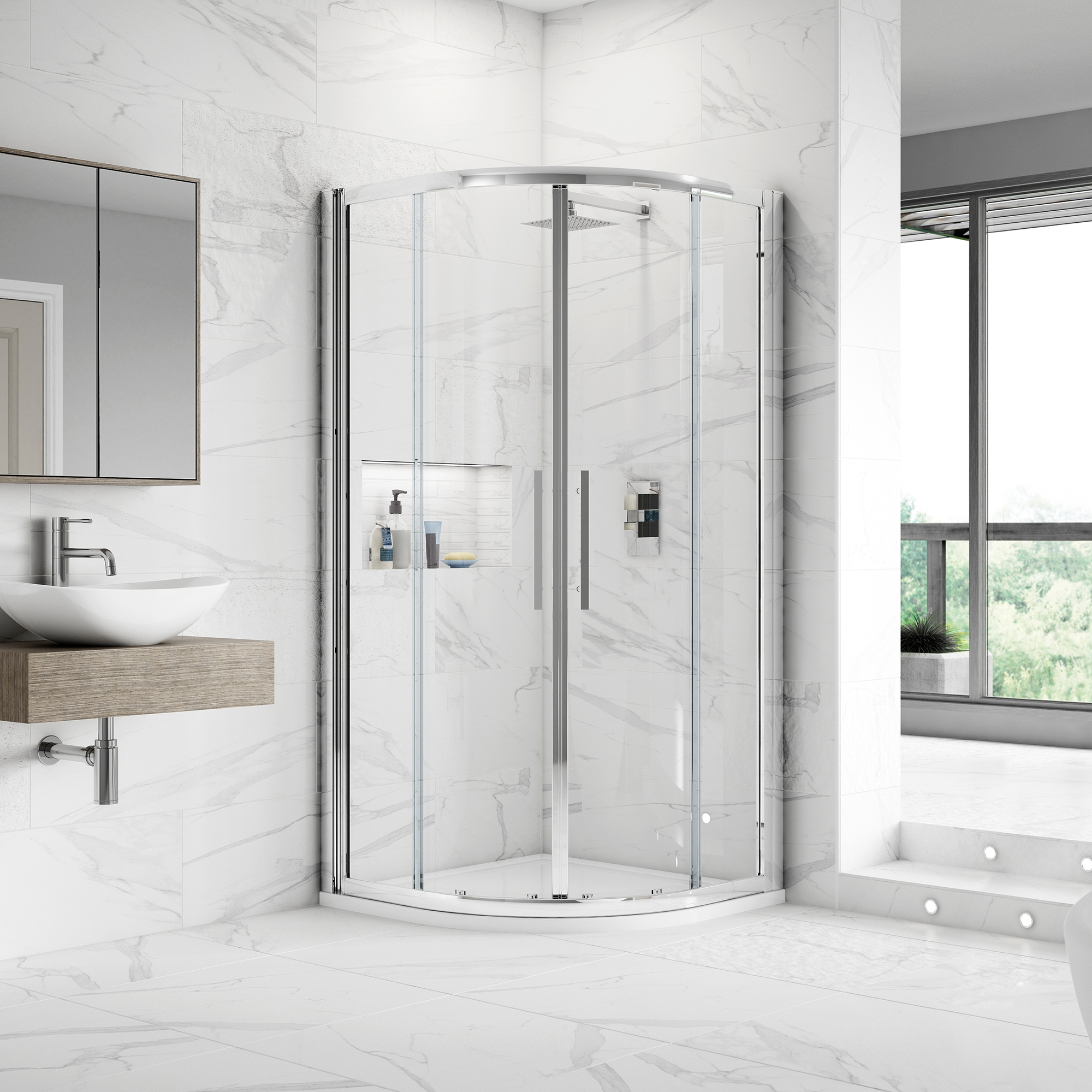 Premier Apex Quadrant Shower Enclosure 900mm x 900mm with Shower Tray - 8mm Glass