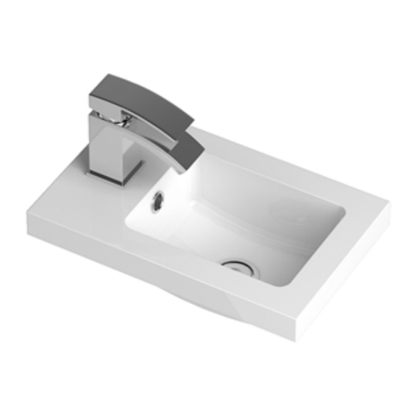 Hudson Reed Apollo Compact Wall Hung Vanity Unit and Basin 405mm Wide Gloss Cashmere 1 Tap Hole-0