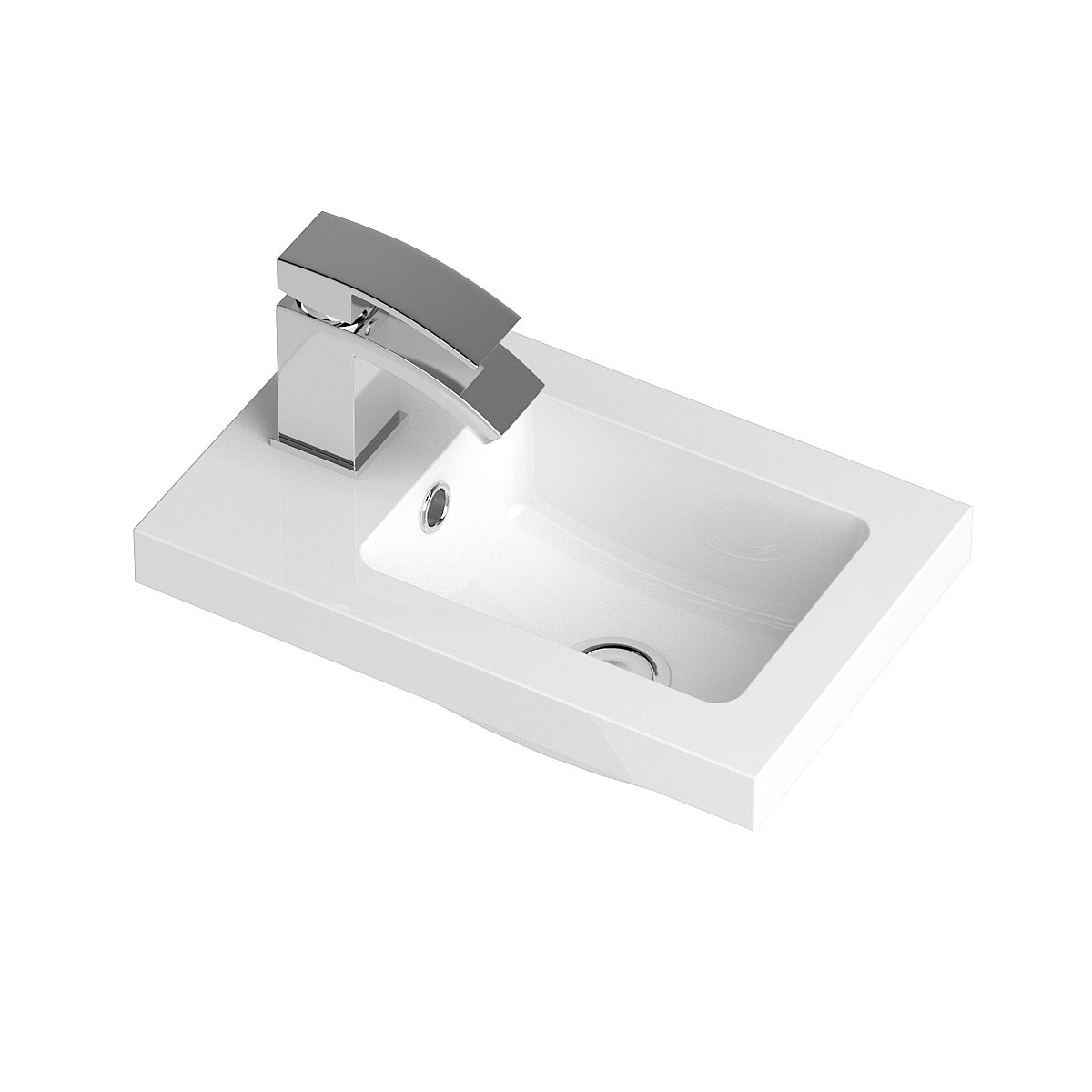 Hudson Reed Apollo Compact Floor Standing Vanity Unit and Basin 405mm Wide Gloss Grey 1 Tap Hole