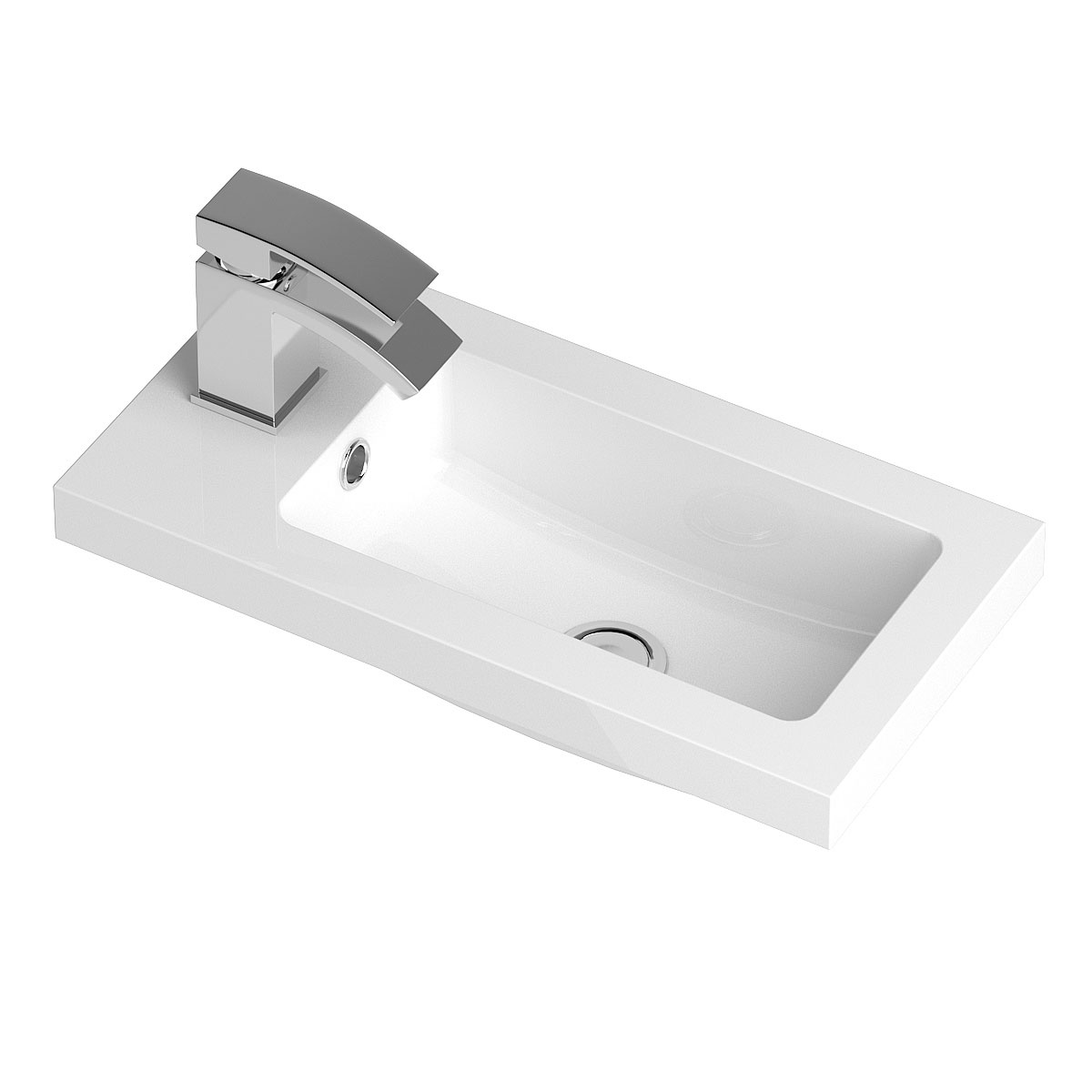 Hudson Reed Apollo Compact Floor Standing Vanity Unit and Basin 505mm Wide Gloss Grey 1 Tap Hole