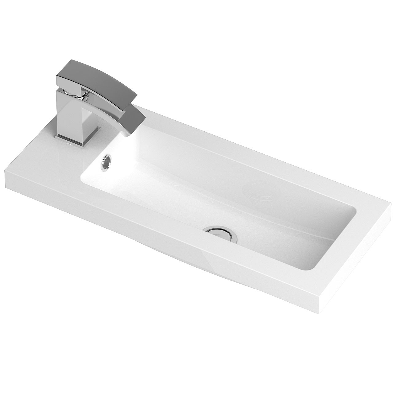 Hudson Reed Apollo Compact Wall Hung Vanity Unit & Basin 605mm Wide Gloss Cashmere 1 Tap Hole