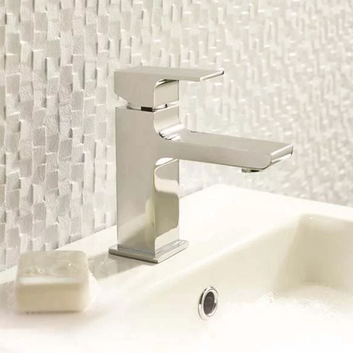 Hudson Reed Art Mono Basin Mixer Tap Single Handle with Push Button Waste - Chrome-0
