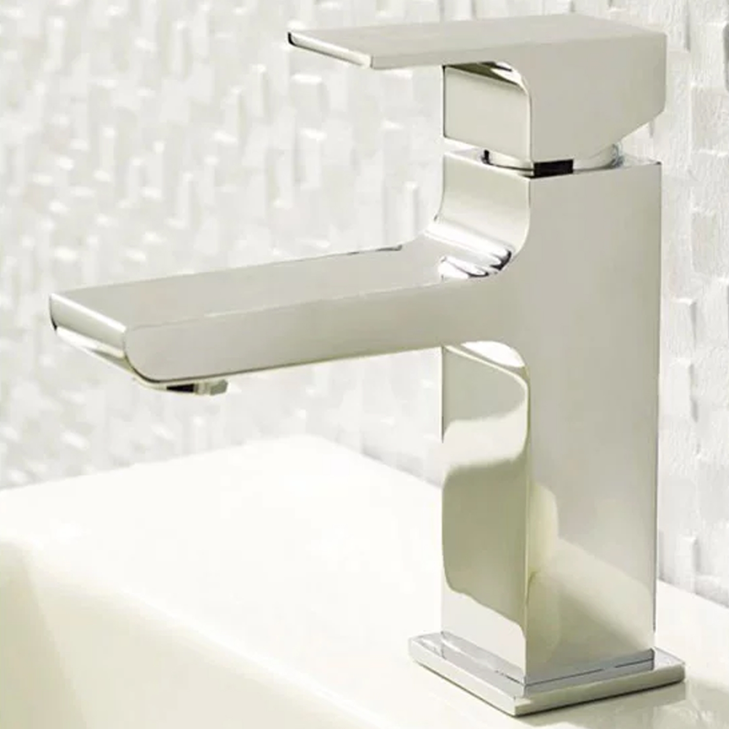 Hudson Reed Art Waterfall Mono Basin Mixer Tap Single Handle with Push Button Waste - Chrome