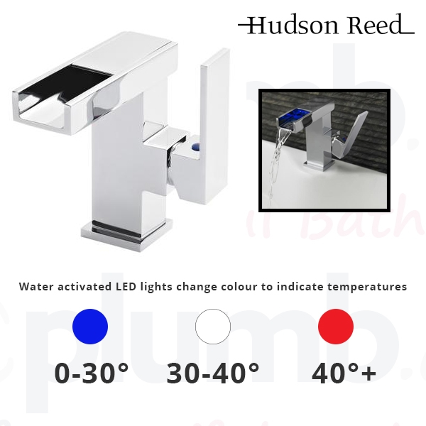 Hudson Reed Art LED Cloakroom Mono Basin Mixer Tap Single Handle with Push Button Waste - Chrome-1