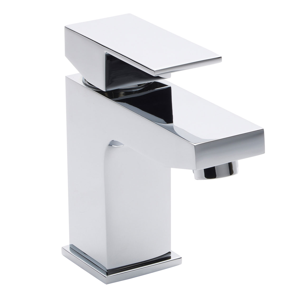 Hudson Reed Art Mini Mono Basin Mixer Tap Single Handle with Push Button Waste - Chrome