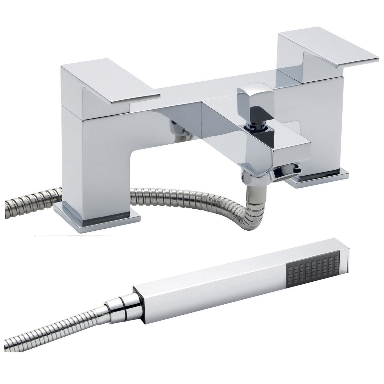 Hudson Reed Art Mono Basin Mixer Tap and Bath Shower Mixer Tap, Chrome-1