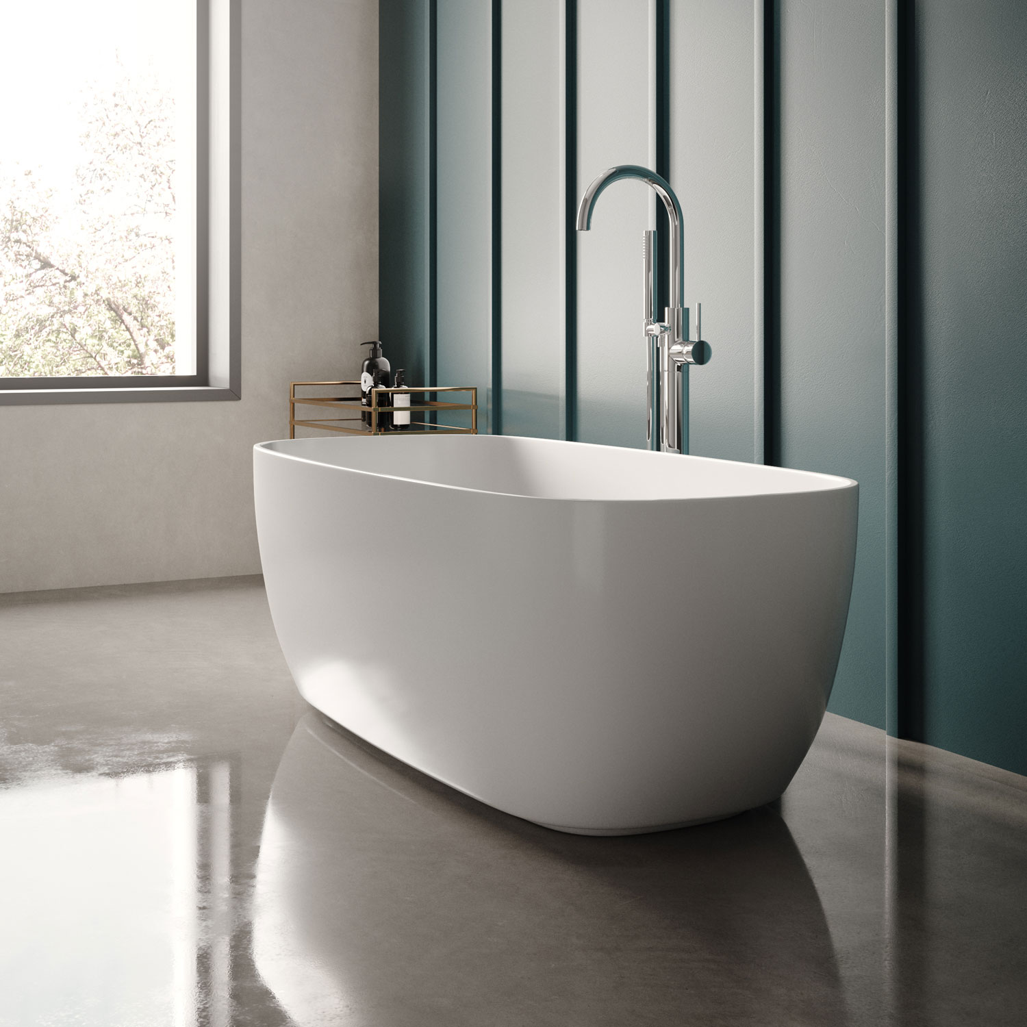 Hudson Reed Bella Freestanding Bath 1495mm x 721mm - White-0