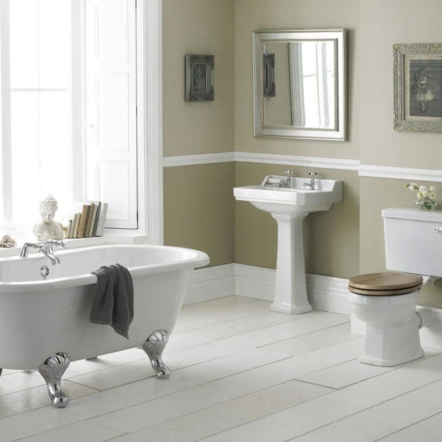 Hudson Reed Carlton Basin with Full Pedestal 595mm Wide - 2 Tap Hole