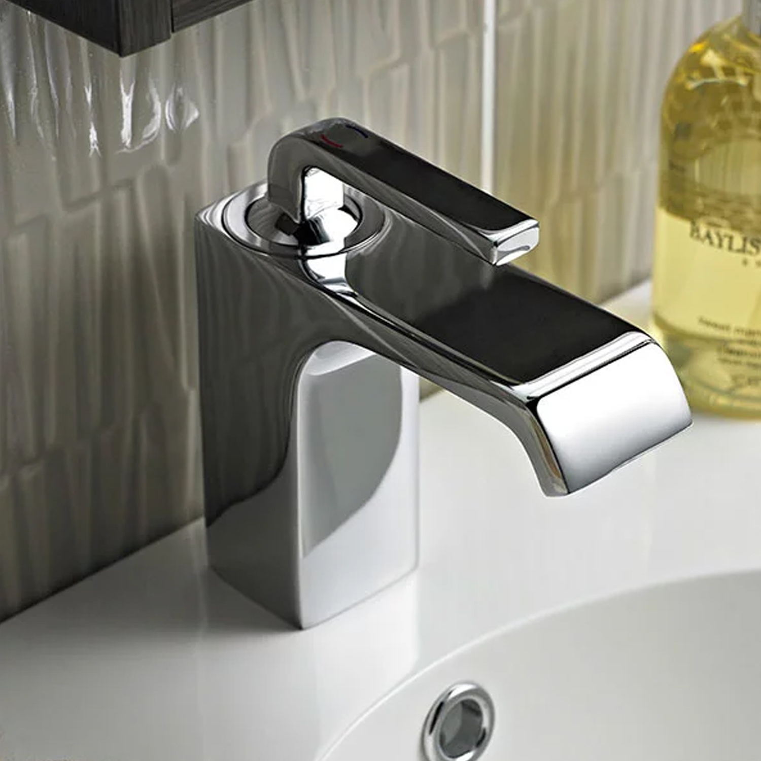 Hudson Reed Carma Mono Basin Mixer Tap Single Handle with Push Button Waste - Chrome-0