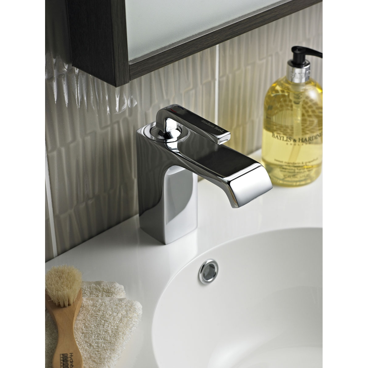Hudson Reed Carma Mono Basin Mixer Tap Single Handle with Push Button Waste - Chrome