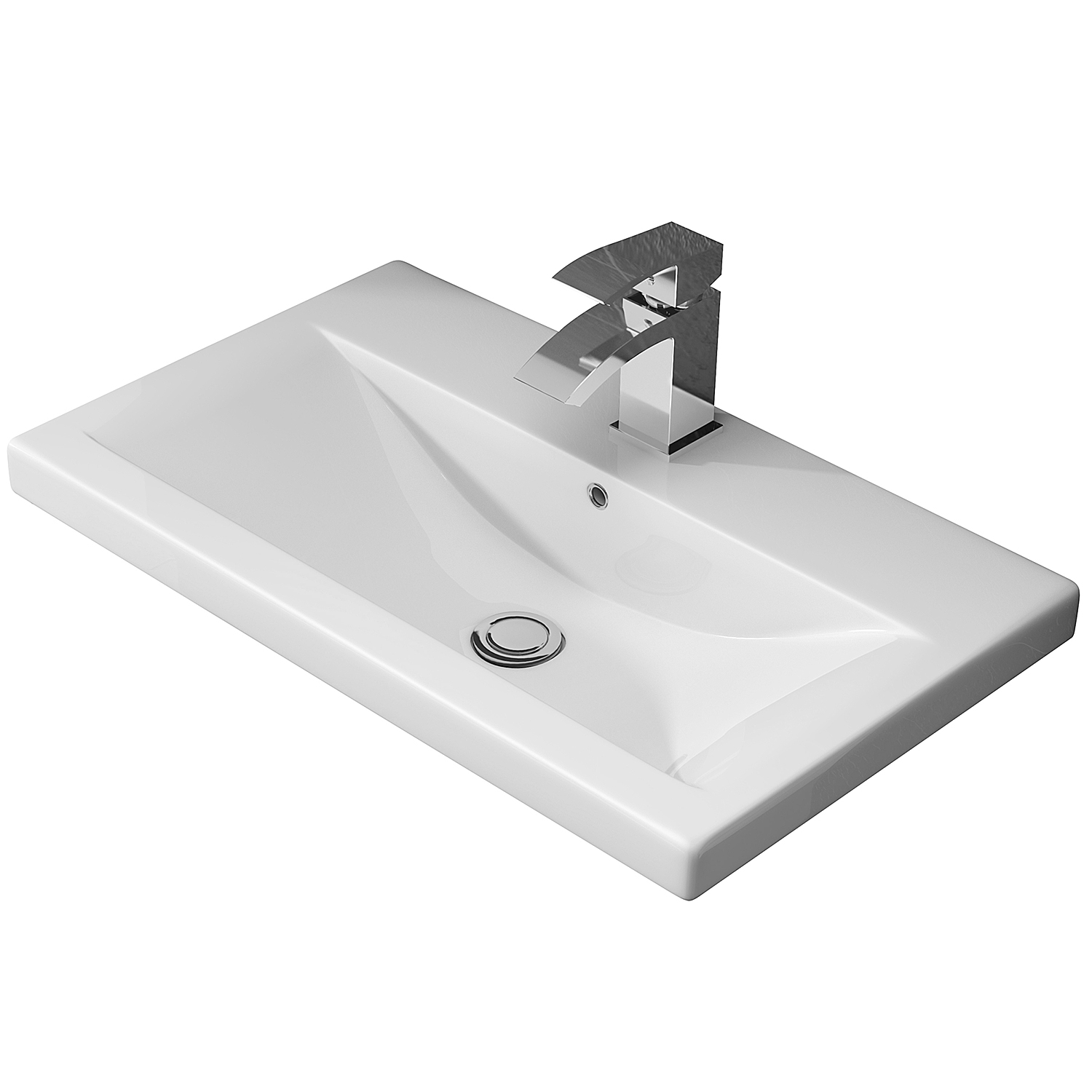 Hudson Reed Coast 1 Wall Hung Vanity Unit and Basin 1 White - 800mm Wide-0
