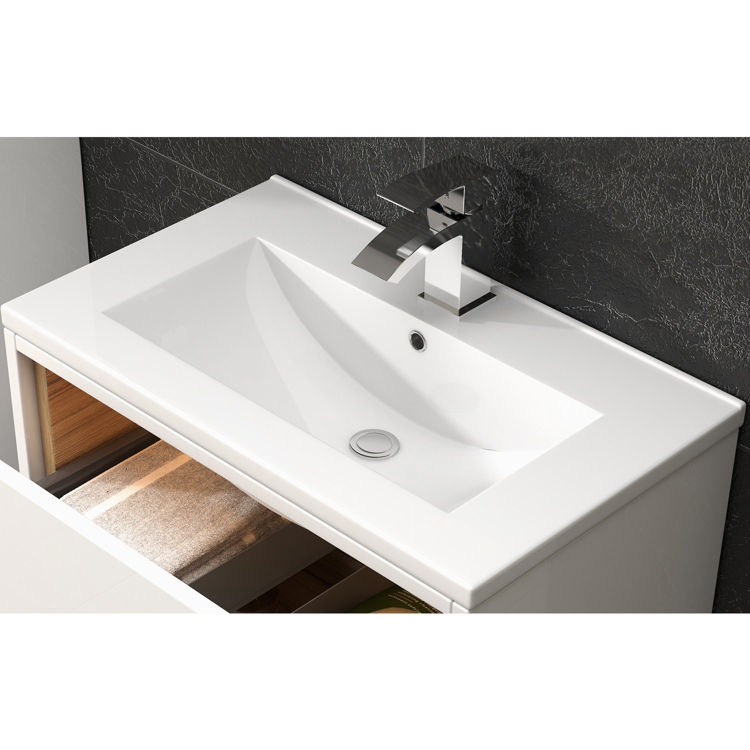 Hudson Reed Coast 2 Floor Standing Vanity Unit and Minimalist Basin 600mm Wide White 1 Tap Hole
