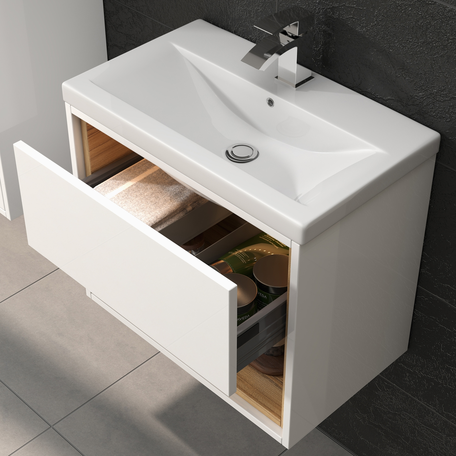 Hudson Reed Coast Wall Hung Vanity Unit and Mid-Edged Basin 500mm Wide White 1 Tap Hole